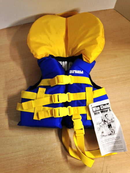 Life Jacket Child Size 20-30 lb Airhead Yellow Blue New With Tags