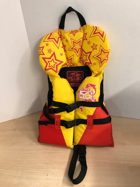 Life Jacket Child Size 30-60 lb Fluid Yellow Red Excellent