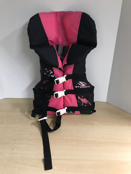 Life Jacket Child Size 30-60 lb Stearns Fushia Black Excellent