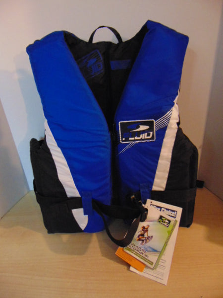 Life Jacket Adult Size XX Large Fluid Blue Black White New With Tags