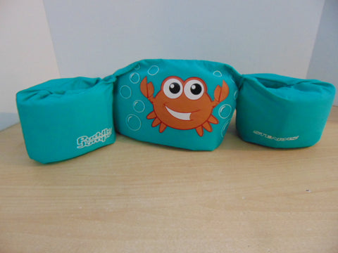 Life Jacket Child Size 30-50 Pound Puddle Jumper Stearns Teal Crab