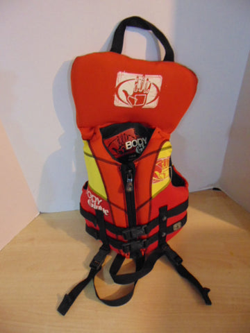 Life Jacket Child Size 30-60 Pound Body Glove Neoprene Red Yellow