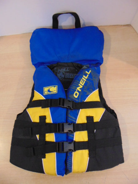 Life Jacket Child Size 60-90 lb Youth O'Neill Blue Black Yellow Mint Condition