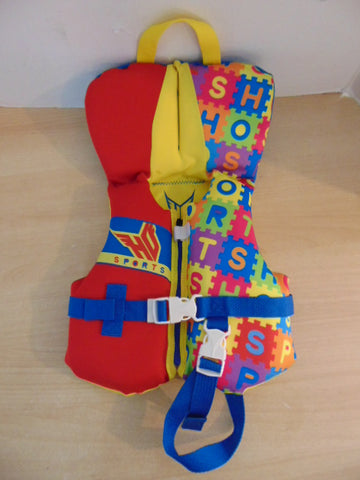 Life Jacket Infant Size 20-30 Pound HO Yellow Red Multi Neoprene Excellent