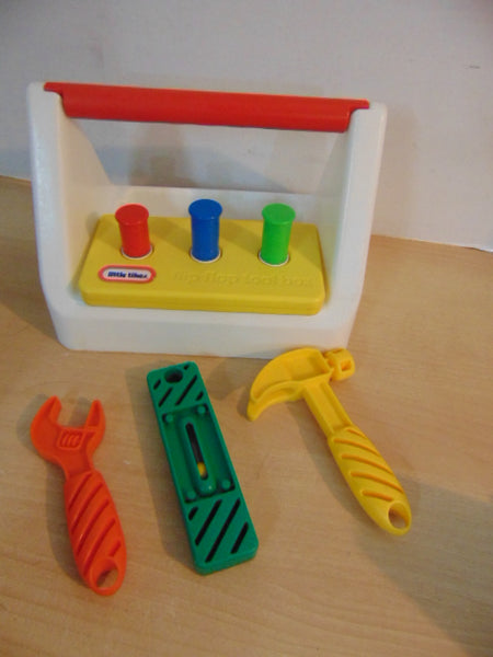 Little Tikes Vintage 1980's Tool Box Hammer and Nail Set With Tools RARE