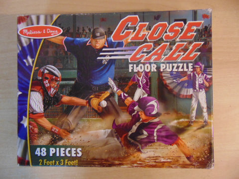 Child Jigsaw Puzzle 48 pc Melissa and Doug Jumbo Floor Puzzle Close Call Baseball Complete