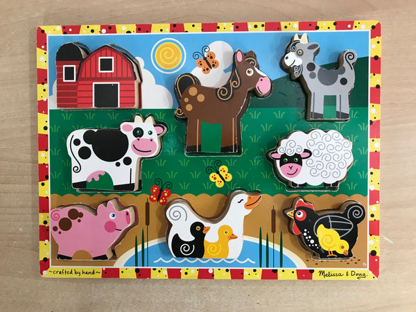 Melissa And Doug Wood Puzzle My First Chunky Farm Animals