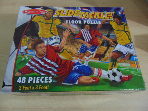 Child Jigsaw Puzzle 48 pc Melissa and Doug Jumbo Floor Puzzle Slide Tackle Soccer