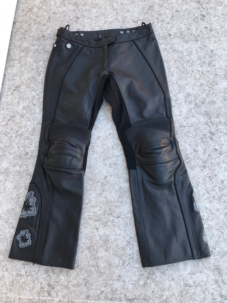 Motorcycle Pants Ladies Size X Large Joe Rocket Black Leather Armored  As New