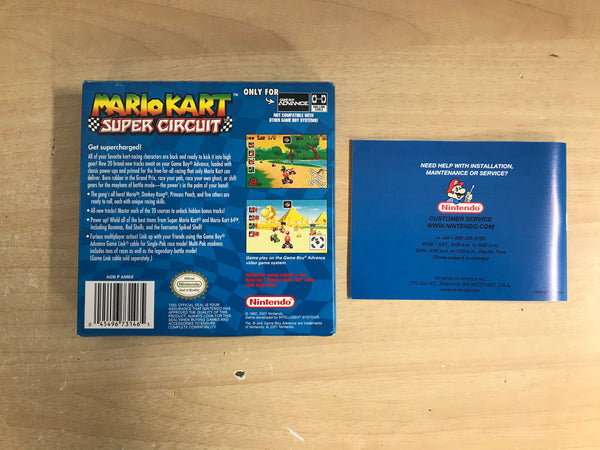 Nintendo Game Boy Advance Mario Cart Super Circuit  2001 Box and Instructions NO GAME