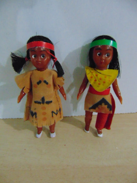 Native Indian Vintage 5 inch Hard Plastic Dolls 1970's Excellent