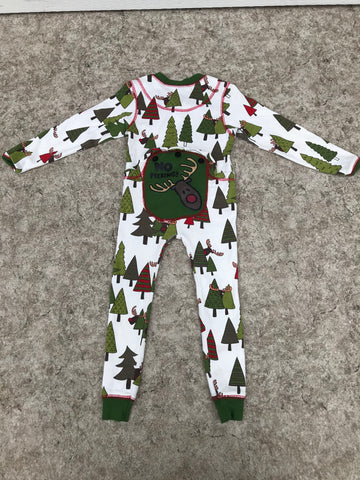Pajama Child Size 3 Lazy One Flap Jack Onsies No Peeking Christmas Reindeer As New