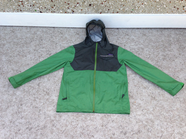 Rain Coat Child Size 14 Patagonia Waterproof Sealed Zippers Green Excellent