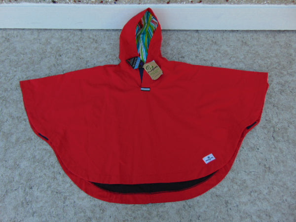 Rain Coat Child Size 5-6 Years  Moojoes Red Poncho Cape Waterproof New With Tags Made In Vancouver