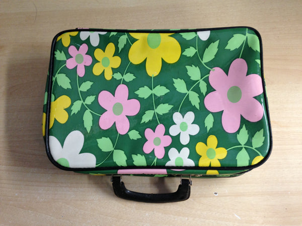 Retro 1970's Mini Suitcase For Cosmetics Plastic Zippered 12 x 8 x 3 inch Excellent