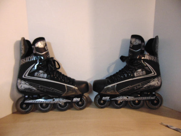 Hockey Roller Hockey Skates Men's Size 12.5 Shoe Size Mission Axium 3 Black New Demo Model Outstanding