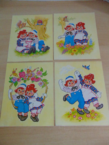 Raggedy Ann and Andy Vintage 1973 Litho Art Prints Complete Set 4 Bobbs Merril