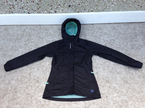 Rain Coat Child Size 10 MEC Black Teal  With Reflectors Waterproof New Demo Model