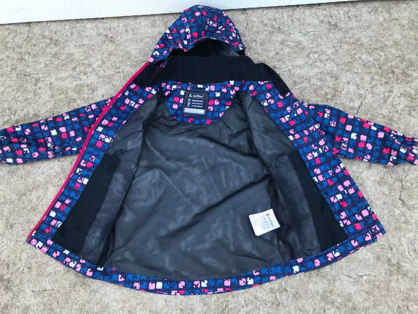 Rain Coat Child Size 3-4 Killtec Breathable Waterproof Windproof Blue Pink Excellent