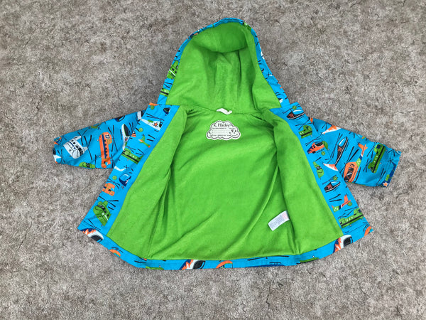 Rain Coat Child Size 4 Hatley Helicopters Blue Lime Excellent