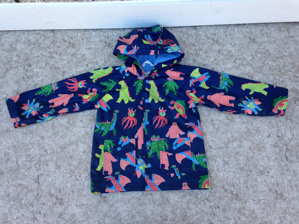 Rain Coat Child Size 5 Hatley Navy Dinosaurs  Waterproof