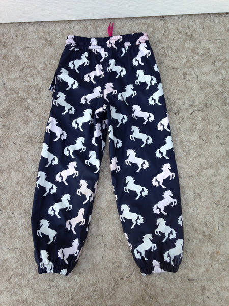 Rain Pants Child Size 5 Hatley Navy With Horses Waterproof As New Excellent