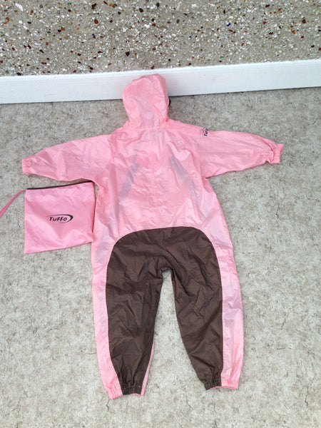 Rain Suit Child Size 5 Muddy Buddy Tuffo Pants Coat Pink Brown Excellent With Bag