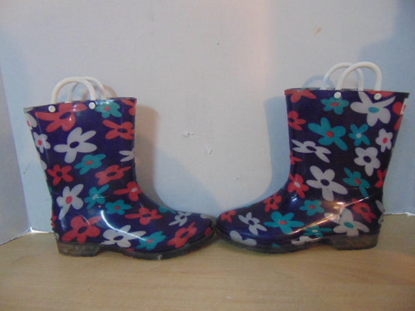 Rain Boots Child Size 3 YoKids Purple Pink Daisy's