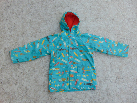 Rain Coat Child Size 6 Hatley Surf Sun Sharks Teel Orange
