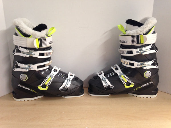 Ski Boots Mondo Size 25.5 Ladies Size 8  298 mm Rossignol Kiara Black White Lime Faux Fur Sparkles New Demo Model