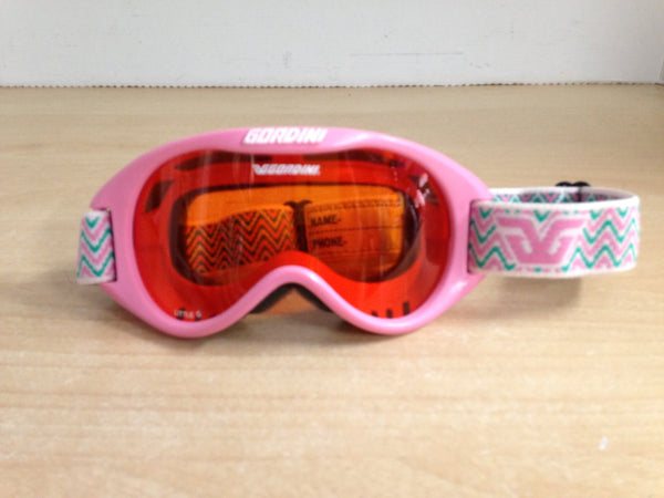 Ski Goggles Child Size Gordini Little G Pink Teal With Orange Lense