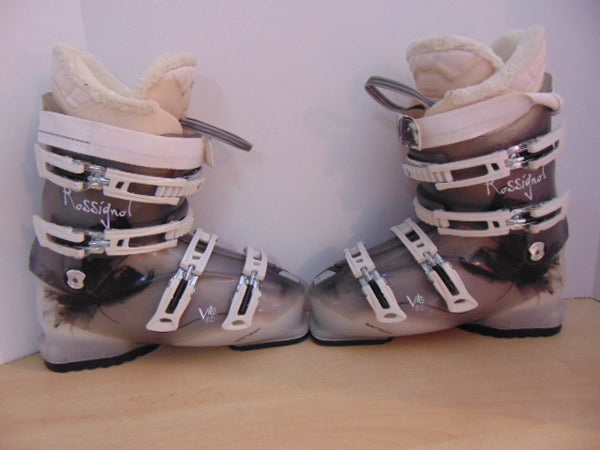 Ski Boots Mondo Size 25.5  Ladies Size 8.5 300 mm Rossignol Vito Grey Cream Excellent