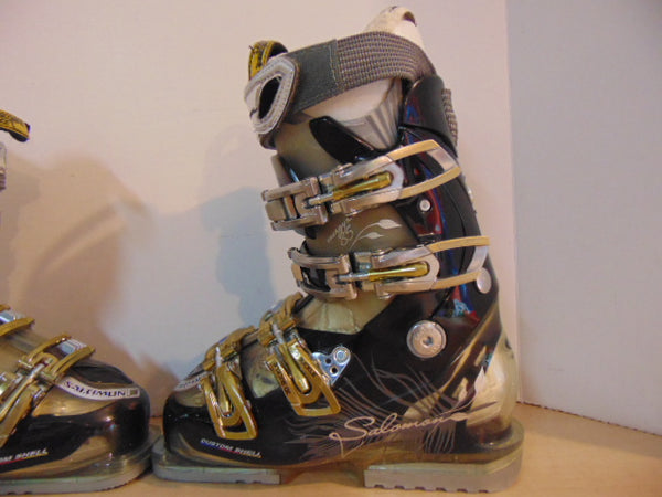 Ski Boots Mondo Size 22.5 Ladies Size 5 267 mm Salomon Energizer Black Grey Gold New Demo Model
