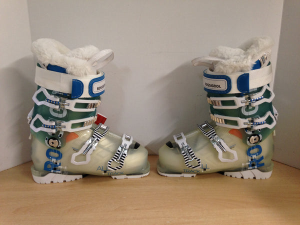 Ski Boots Mondo Size 23.5  Ladies 6.5 276 mm Rossignol Alltrack Pro New With Tags Teal White Faux Fur