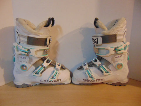 Ski Boots Mondo Size 24.0 Ladies 7 288 mm Salomon Quest White Grey Teal Excellent
