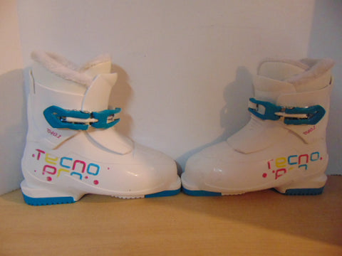 Ski Boots Mondo Size 21.5 Child Size 4 262 mm Youth Tecno Pro White Teal Pink Excellent