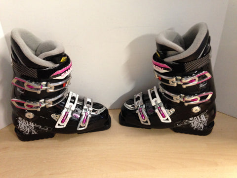 Ski Boots Mondo Size 24.5 Ladies Size 7.5 287 mm Salomon 3D Buckle Black Grey Fushia Excellent