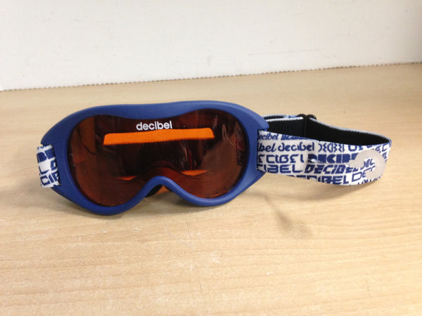 Ski Goggles Child Size 4-7 Decibel  Blue White Orange Lense Excellent
