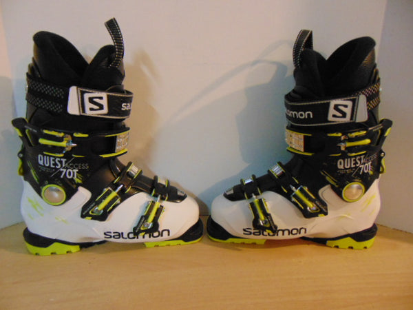 Ski Boots Mondo Size 24.5 Men's Size 6.5 Ladies size 7.5 288 mm Salomon Quest 70T Access White Black Lime As New