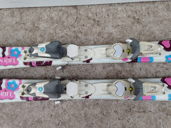 Ski 100 Rossignol Fun Girl Parabolic White Pink Blue With Bindings