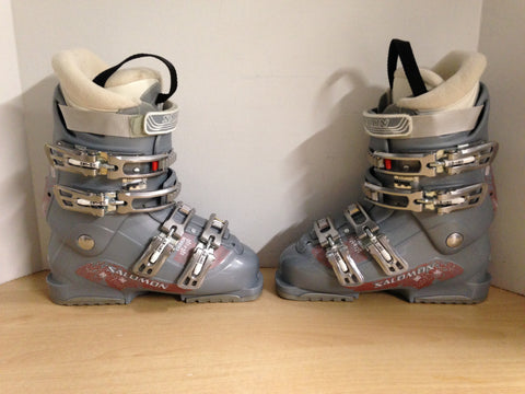 Ski Boots Mondo Size 24.0 Ladies Size 7 286 mm Salomon Charm Grey New Demo Model