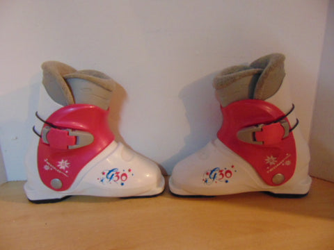 Ski Boots Mondo Size 21.5 Child Size 3  254 mm Tecno Pro Pink White With Stars Excellent