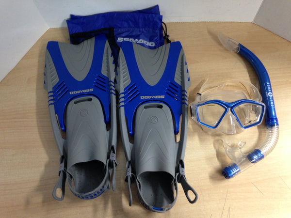 Snorkel Dive Fins Set Ladies Shoe Size 5.5-9 Youth Sea Doo Blue Grey Excellent