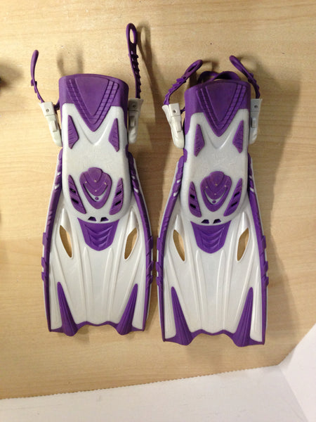 Snorkel Dive Fins Set Child Shoe Size 1-4 Body Glove Purple and Pearl