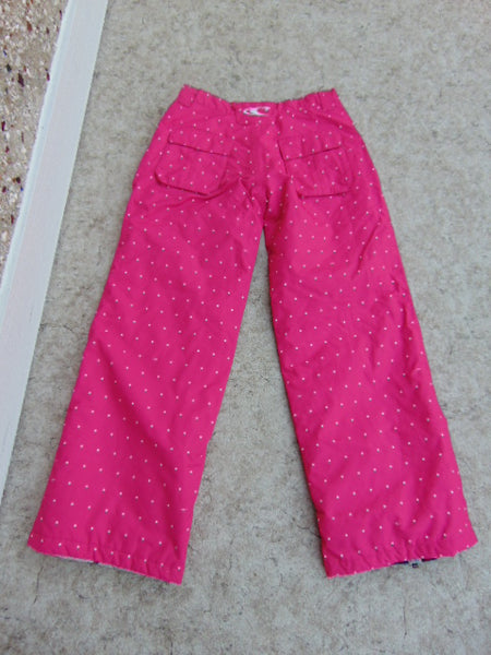 Snow Pants Child Size 12-14 Youth Oneill Pink With White Snow Dots Snowboarding New Demo Model