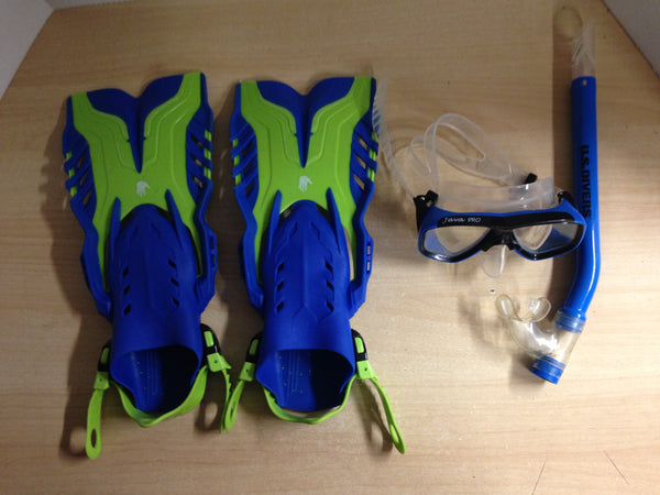 Snorkel Dive Fins Set Child Size 1-4 Shoe Size Body Glove Lime and Blue Excellent