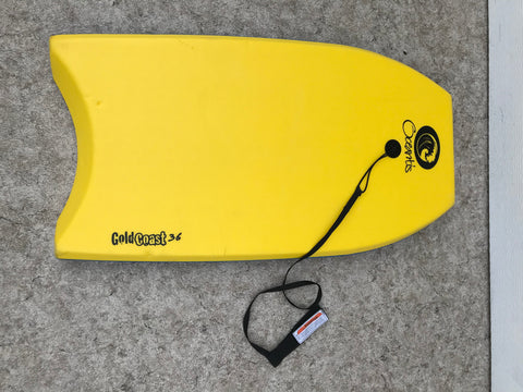 Surf Bodyboard Oceantis Gold Coast Skim Boogie Board With Tow Rope 36 x 20 inch Yellow White Multi Excellent