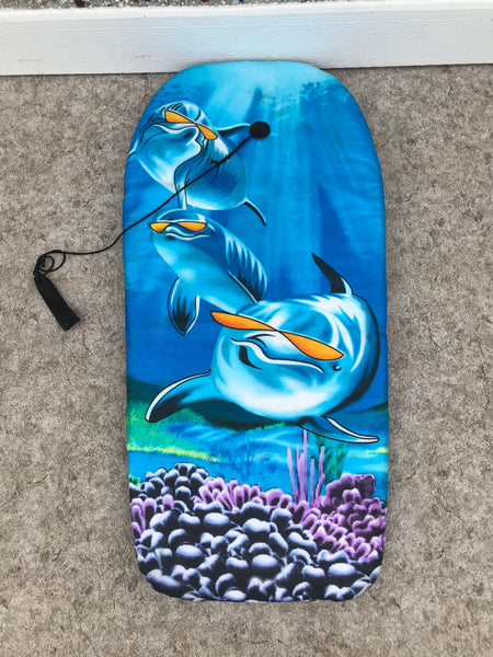 Surf Bodyboard Skim Boogie Board Blue With Tow Rope 40 x 20 inch