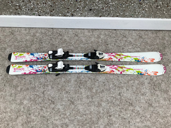Ski 130 Tecno Pro Parabolic White Pink Multi With Bindings Excellent
