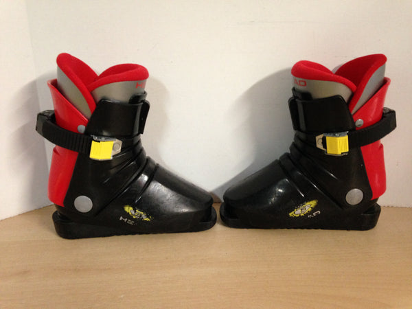 Ski Boots Mondo Size 20.0 Child Size 13.5 mm 235 Head Black Red Wear and Scratches